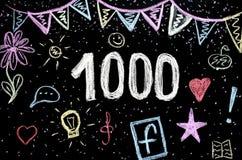 1 000 kredowy rysunek na blackboard zdjęcia stock