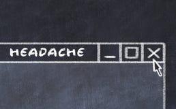 Kredowy rysunek okno na ekranie komputerowym Pojęcie powstrzymywanie migrena ilustracji