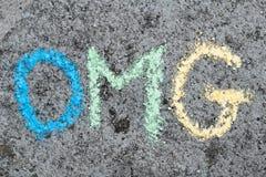 kredowy rysunek: słowo OMG zdjęcie stock