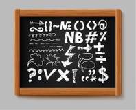 Kredowych graficznych elementów inkasowa ręka pisać strzała, wykłada i podpisuje Kred formy na czerni desce Nakreślenia doodle pr ilustracji