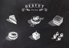 Kredy rysować pustynie na zarządzie szkoły również zwrócić corel ilustracji wektora Zdjęcie Royalty Free