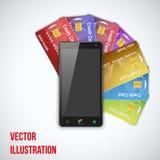 Kredytowa karta I telefon komórkowy również zwrócić corel ilustracji wektora Zdjęcie Stock
