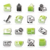 Kredytowa karta, POS terminal i ATM ikony, Zdjęcia Royalty Free