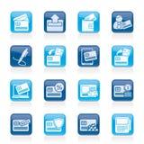 Kredytowa karta, POS terminal i ATM ikony, Fotografia Stock