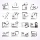 Kredytowa karta, POS terminal i ATM ikony, Zdjęcie Stock