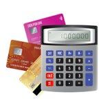 Kredytowe karty i kalkulator odizolowywający na białym tle Zdjęcia Royalty Free