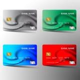 Kredytowej karty set Z inspiracj? od abstrakta B??kitna czerwie? i zielony kolor na bia?ym tle r?wnie? zwr?ci? corel ilustracji w royalty ilustracja