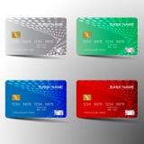 Kredytowej karty set Z inspiracj? od abstrakta B??kitna czerwie? i zielony kolor na bia?ym tle ilustracja wektor