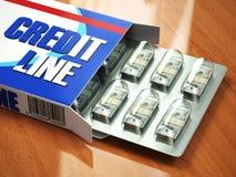 Kredytowej linii pojęcia paczka dolary gdy pigułki w bąbel paczce Zdjęcie Stock