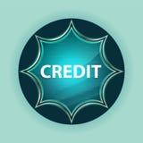 Kredytowy magiczny szklisty sunburst błękitny guzika nieba błękita tło zdjęcie stock