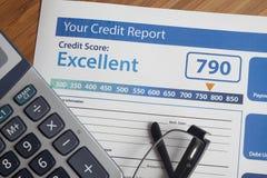 Kredytowy raport z wynikiem zdjęcia stock