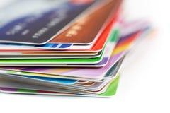 Kredytowych kart sterty zakończenie up Fotografia Royalty Free