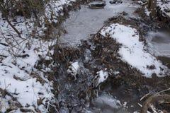 Kreek in bevroren de winterlandschap royalty-vrije stock foto