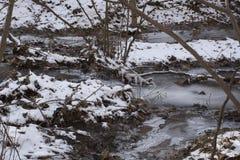 Kreek in bevroren de winterlandschap royalty-vrije stock foto's