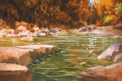 Kreek in de herfstbos, aard, landschap royalty-vrije stock foto