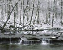 Kreek in de Winter, Ohio stock afbeelding