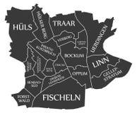 Krefeld city map Germany DE labelled black illustration. Krefeld city map Germany DE labelled black Stock Photography