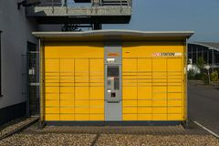 Krefeld Germany June 24th 2018: DHL self service parcel station royalty free stock photos