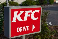 Krefeld Germany June 24th 2018: KFC Kentucky Fried Chicken drive thru sign stock photography