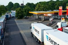 Krefeld Germany June 24th 2018: Shell truckstop station stock photography