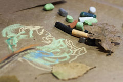 Kreide gemalter Baum Lizenzfreie Stockfotos