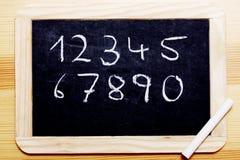 Kreide-Vorstand mit Zahlen Stockfotografie