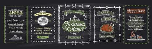 Kreide-Weihnachtsmenü-Tafeldesigne eingestellt Gezeichnete Illustration des Vektors Hand mit Feiertagsmenü Lizenzfreie Stockfotografie