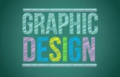 Kreidebrett mit dem Grafikdesign geschrieben Stockbild
