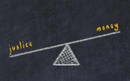 Kreidebrett-Skizzenillustration Konzept der Balance zwischen Geld und Gerechtigkeit vektor abbildung
