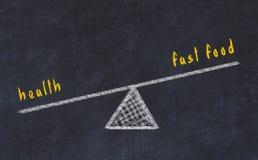 Kreidebrett-Skizzenillustration Konzept der Balance zwischen Gesundheit und Schnellimbiß stock abbildung