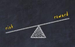 Kreidebrett-Skizzenillustration Konzept der Balance zwischen Risiko und Belohnung vektor abbildung