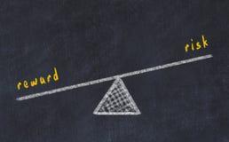 Kreidebrett-Skizzenillustration Konzept der Balance zwischen Risiko und Belohnung stock abbildung