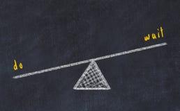Kreidebrett-Skizzenillustration Konzept der Balance zwischen Wartezeit und tun lizenzfreie abbildung