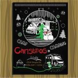 Kreidebretteinladung für Weihnachtsfeiertag Lizenzfreie Stockfotos
