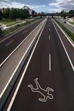 Kreideumreiß auf der Straße Stockfoto
