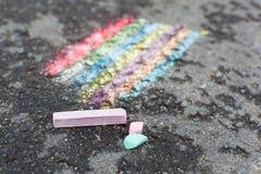 Kreidezeichnung des Regenbogens Lizenzfreie Stockfotos