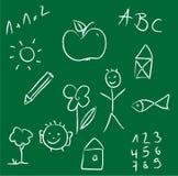 Kreidezeichnung eines Kindes auf grüner Tafel Lizenzfreies Stockfoto