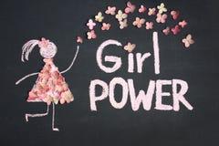 Kreidezeichnungsikone der Frau in den Liveblumen kleiden an MÄDCHEN-ENERGIE herein lizenzfreies stockfoto