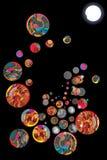 Kreis-Balldekoration des Mondes allein Stockfotos