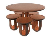 Kreis-Blumen-Tabellen-Stuhl Set_Raster Lizenzfreies Stockfoto