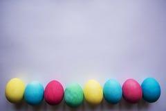 Kreis der farbigen Ostereier Eier mit Tulpen auf hölzernem Brett, Ostern-Feiertagskonzept Copyspace für Text Weißer Hintergrund Stockfotos