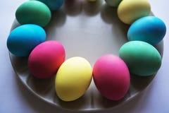Kreis der farbigen Ostereier Eier mit Tulpen auf hölzernem Brett, Ostern-Feiertagskonzept Kopieren Sie Raum für Text Auf einer Pl Stockfotos