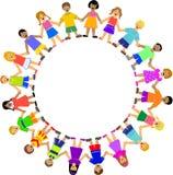 Kreis der Kinder, die Hände anhalten lizenzfreie abbildung