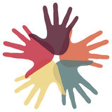 Kreis der liebevollen Hände. Stockbilder