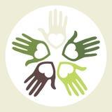 Kreis der liebevollen Hände. Stockfoto