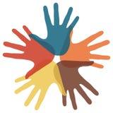 Kreis der liebevollen Hände. Lizenzfreies Stockbild