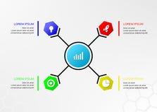 Kreis-Hexagon Infographics 4 Wahlen Lizenzfreie Stockfotos