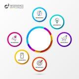 Kreis infographic Geschäftskonzept mit sechs Wahlen Vektor Lizenzfreie Stockfotos