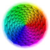 Kreis mit Dachplattemuster im Spektrum. Stockfoto