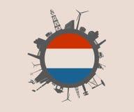 Kreis mit Industrieverwandtschattenbildern Niederländische Markierungsfahne Stockfotos